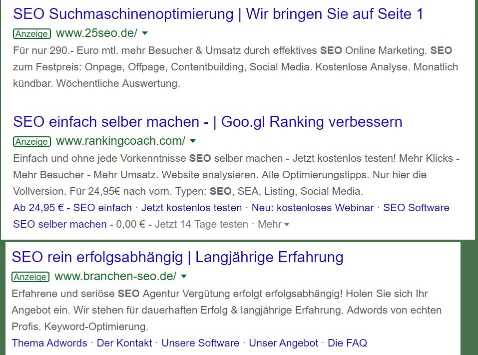pikant: Auch die meisten SEO-Agenturen schaffen es - natürlich - nicht, ihre Webseite auf die erste Google-Seite mit den organischen Treffern zu platzieren. Damit teilen Sie das Schicksal ihrer SEO-Kunden ...