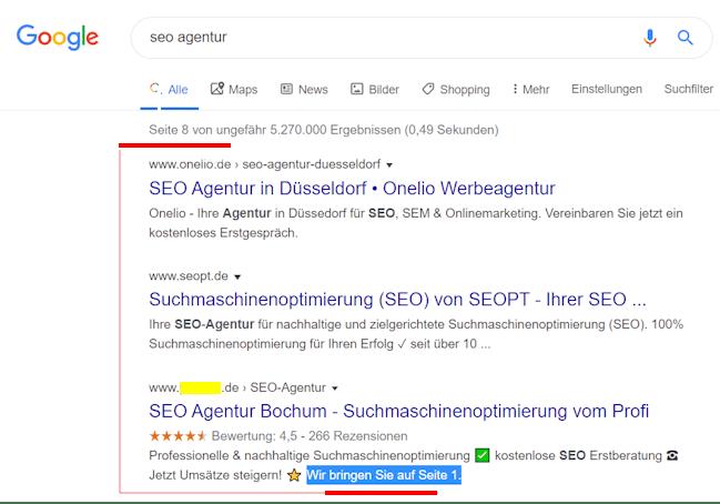 Screenshot von der achten Google-Ergebnisseite zur Keyword-Kombination 'seo agentur'.