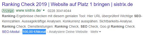 """Bezahlte Google-Anzeigen (AdWords) können leicht mit organisch angezeigten Snippets verwechselt werden: Sie unterscheiden sich aber durch die eingerahmte Textergänzung """"Anzeige""""."""